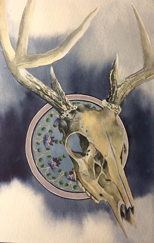 deer skull - blue