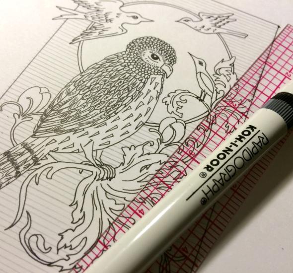 Owl Drawing Pen