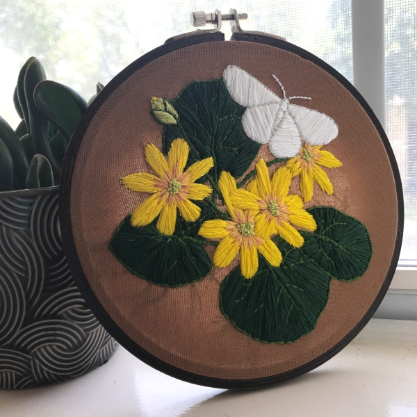 Levacy-Embroidery-CabbageWhiteWithButtercups2